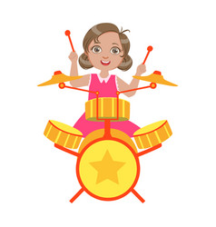 Girl playing drums kid performing on stage vector