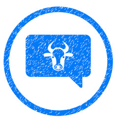 Cow message rounded grainy icon vector