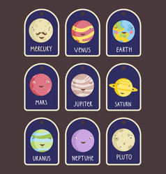price tag with planets cartoons set vector image