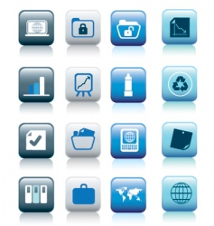 office icons blue buttons vector image