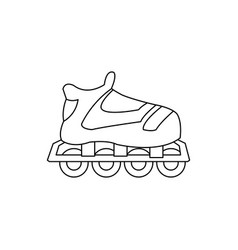 cartoon roller skate sport equipment outline vector image