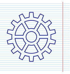 Gear sign navy line icon on notebook vector