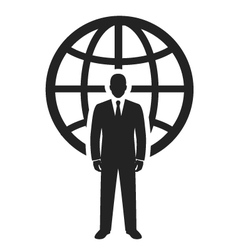 Businessman standing near globe vector