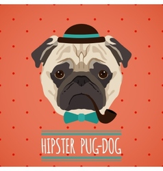 Hipster dog portrait vector