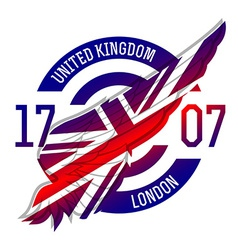 United kingdom flag on wing original idea with vector