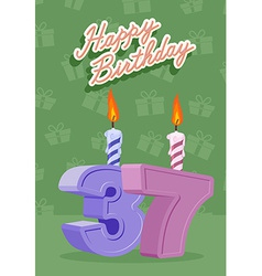 37 year happy birthday card vector