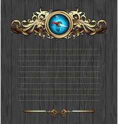 compass with ornate frame vector image