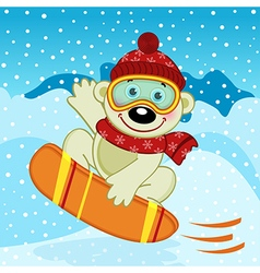 Polar bear on snowboard vector