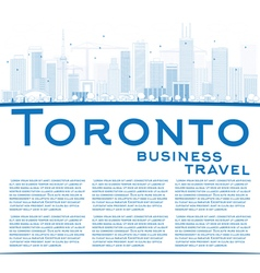 Outline toronto skyline with blue buildings vector