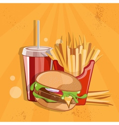 Fast food with burgerfried potatoes and cola vector