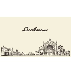 Lucknow skyline drawn sketch vector