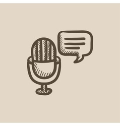 Microphone with speech square sketch icon vector