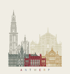 Antwerp skyline poster vector