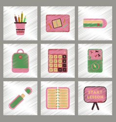 Assembly flat shading style icons office pins vector