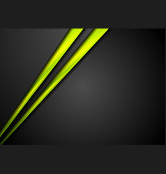 black corporate abstract background with green vector image