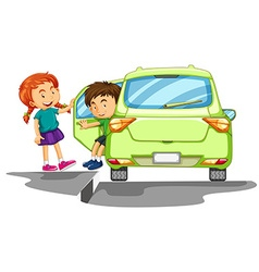 Boy getting out of green car vector