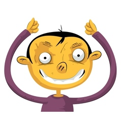 Boy with hands up vector