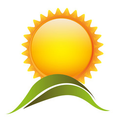 Color sun with mountain icon vector
