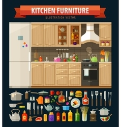 cooking icons set kitchen furniture and utensils vector image vector image