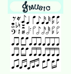different music notes on poster vector image