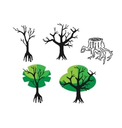 Doodle flat silhouette tree and nature vector image