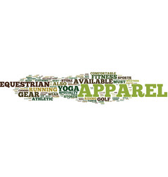 Equipment apparel text background word cloud vector