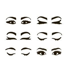 Eyes and brows collection sketch for your design vector