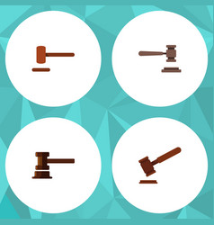 Flat icon hammer set of justice government vector