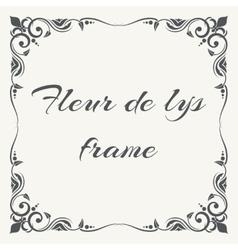 Fleur de lys ornate frame white background vector image