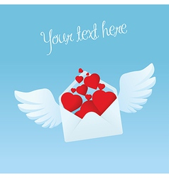 Flying envelope with wings filled with red hearts vector image