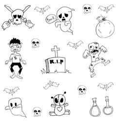 Ghost halloween doodle set vector