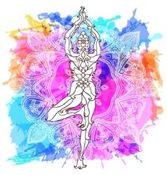 Girl in yoga pose over ornate round mandala vector