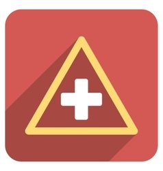 Health warning triangle flat rounded square icon vector