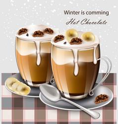 hot chocolate beverage realistic winter vector image vector image