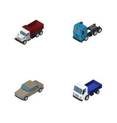 Isometric car set of freight auto lorry and vector