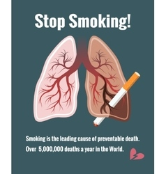 Lungs and smoking stop smoking vector image vector image