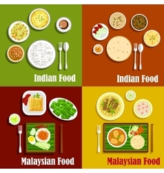 Malaysian and indian cuisine dishes vector