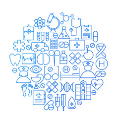 Medicine line icon circle design vector