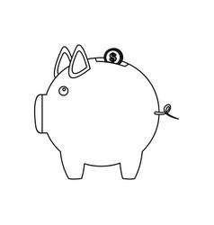 monochrome contour of money box in shape of piggy vector image