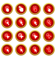 mouse pointer icon red circle set vector image vector image
