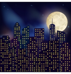 Night city poster vector image