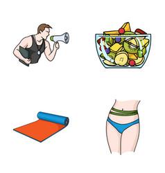 Personal trainer fruit salad mat female waist vector