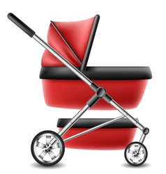 Red baby stroller vector image vector image