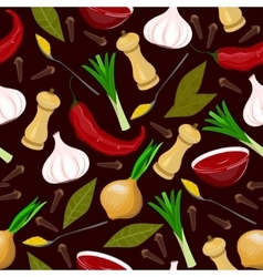 Seamless condiments and spices vector