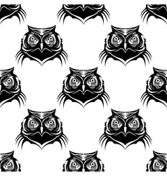 Seamless pattern of an owl head vector image vector image