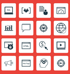 Set of 16 advertising icons includes security vector