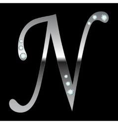 silver metallic letter N vector image