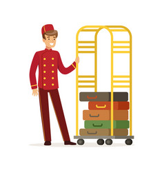 smiling bellhop character wearing red double vector image