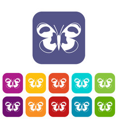 Spotted butterfly icons set vector
