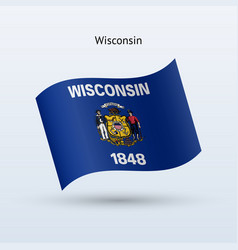 State of wisconsin flag waving form vector